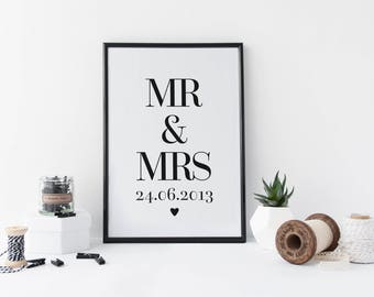 Gepersonaliseerde huwelijksgeschenk, gepersonaliseerde heer & mevrouw Print, Anniversary Gift, bruiloft verjaardag geschenk, gepersonaliseerd Art Print, 1e verjaardag
