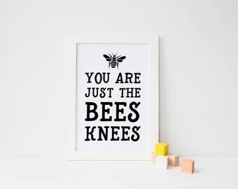 Cute Nursery Decor, Bees Knees Print, Bee Bedroom Art, New Baby Gift, Kids Room Art, Baby Shower Gift, Nursery Art Prints, Kids Room Print