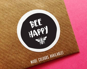 Cute Bee Stickers, Bee Happy Label, Happy Post Stickers, Positive Labels, Cute Happy Mail Sticker, Mailing Stickers, Bumble Bee Stickers