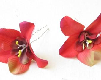 2 x Caribbean Red Orchid Flower Hair Pins Vintage Rockabilly Beach 1950s 1327