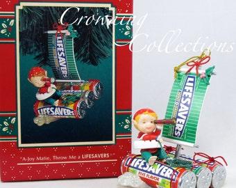 Enesco A Joy Matie, THrow me a Lifesavers Candy Treasury of Christmas Ornament Pirate Elf on Raft Nabisco Ship Vintage RARE