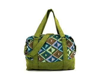 Hippie Tapestry Handbag - Vegan, Compact Weekender bag, Womens Duffle bag, Holdall, Cotton Fabric Crossbody bag, Travel bag, Metal Zip