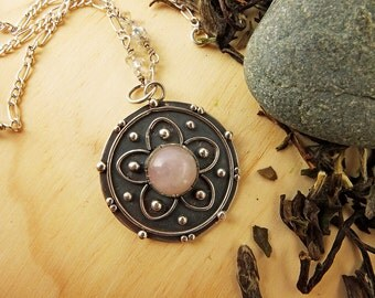 Mandala Pendant in Oxidized Silver and Pink Quartz. Inspiration: Cherry flower