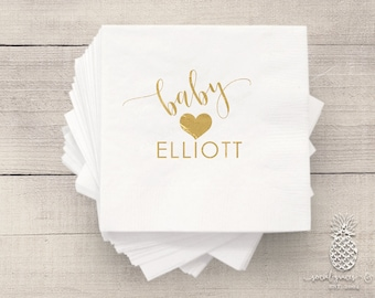 Baby Shower Napkins | Personalized Napkin | Heart Napkins