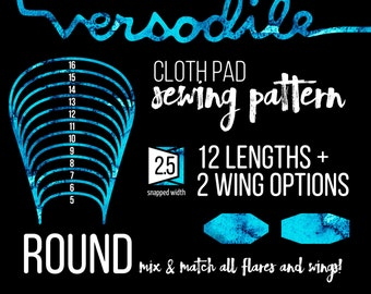 "ROUND Cloth Pad Sewing Patterns | 12 lengths Full Bundle | 2.5"" Snapped Width"
