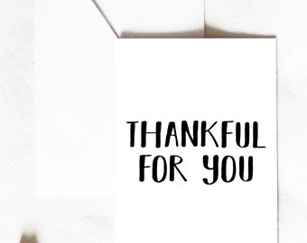 Thankful for you, Thankful card, Thanksgiving card, autumn card, fall card, thankful greeting card, cute fall card, love card, Greeting Card
