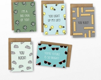 Valentine Card Set | SET OF 10 Mini Cards | Punny Kids Valentines by Cypress Card Co.