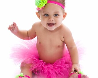 Pink and green tutu set, Hot pink and lime green tutu set, baby tutu set, birthday tutu set,  Hot Pink tutu, Baby Barefoot sandals, Headband