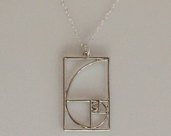 Fibonacci Golden Spiral Silver or Gold Necklace, Math Jewelry, Wearable Mathematics, Irrational Jewelry, Math Necklace, Gold Fibonacci