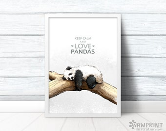 Keep calm and love pandas - Panda Bear keep calm print with quote - cute panda birthday gift best friend gifts bestfriend gift for women