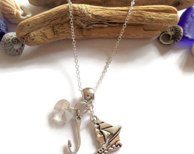 ONCE UPON A TIME inspired charm tibetan silver necklace Captain Hook Killian Jones fan gift jewellery Uk