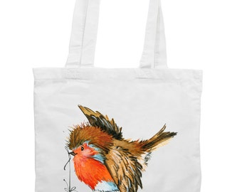 Christmas Robin With Bauble Christmas Tote Shopping Bag - Birds Robin Festive