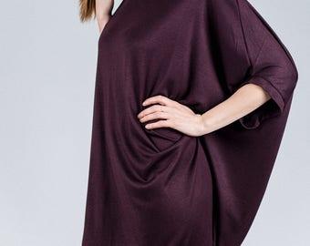 Bordeaux oversized tunic / Shapeless woman's summer dress / Draped back woman's dress / Plus size woman's short tunic / Fasada 1748