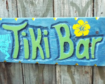Tiki Bar Sign -- Handmade Tiki Bar Sign, hand carved sign in Blue