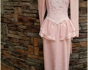 Shiny pink on pink floral dress with cream lace and peplum - medium