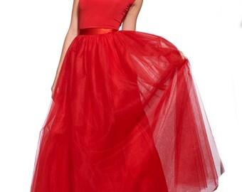 Long Red Skirt, Maxi Tulle Skirt, Red Maxi Skirt, Floor Red Skirt, Floor Skirt, Red Tulle, Red Fashion, Renaissance Clothing