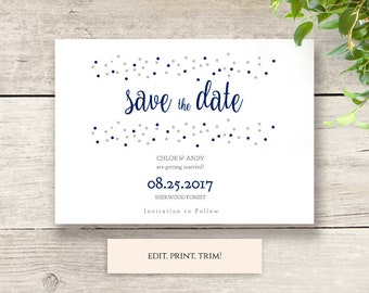 Wedding save the date template, confetti effect, printable save the date shown in Navy + Silver, easily change the colours, Dotty Shimmer