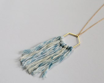 Light Wash Indigo Dyed Fiber Necklace on Raw Brass Hexagon