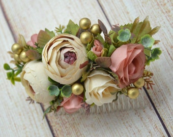 Hair comb Bridal hair accessories Wedding hair comb Gift for bridesmaid Flower girl hair Flower hair comb Rustic wedding Bridal hair piece