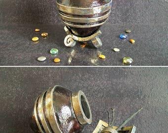 raku ceramic Urn, cremation urn, keepsake urn for ashes, human urn, pet urn, dog urn, cat urn, personalized urn, memorial urn, eggplant urn
