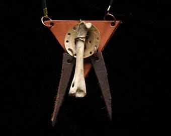 Rabbit Bone Leather Necklace