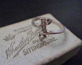 Unusual sterling silver and CZ Heart Ring - Letter 'P' - 925 - UK O - US 7.25