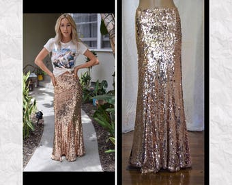 Rose Gold Oval Sequin Maxi Skirt