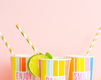 Printable Cup Wrappers Wrap in a fun rainbow party theme! Perfect for bridal showers, bachelorette party, hen party & birthday DIY