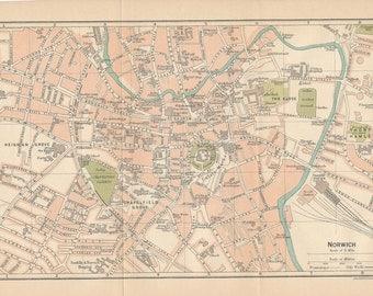 1922 Norwich United Kingdom (Great Britain) Antique map
