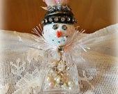 "Glass Shaker Snowman, Glass Snowman Assemblage, Glitter Snowman Decoration, ""Lucy"" Snow Lady, Christmas Collectible, Original"