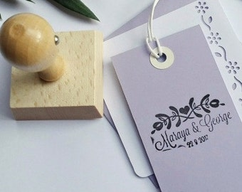 Custom Wedding Date and Name Ink Stamp,Personalizable Wedding Rubber Stamp  -0955260117-