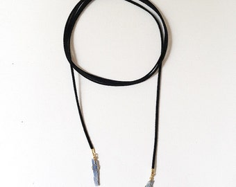 The Sydney Wrap, vegan suede wrap necklace with blue kyante