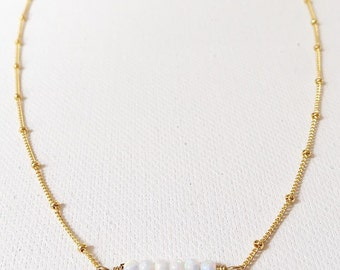 The Opal Necklace, 6 opal beads on a 14k gold chain