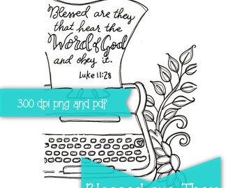 Blessed are They Bible Journaling Print and Trace PRINTABLE Color page INSTANT DOWNLOAD