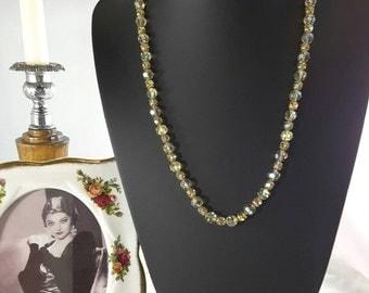 Gold Tone Aurora Borealis Necklace