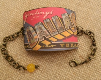 Dallas Texas Bracelet - Dallas Texas Jewelry - Vintage Dallas Postcard - Wearable Kitsch - Retro Kitsch Jewelry - Cuff Bracelet - Fun Art