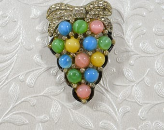 Vintage Dress Clip Pastel Round Stones Rhinestone Bow NICE Vintage Accessory Antique Dress Clip