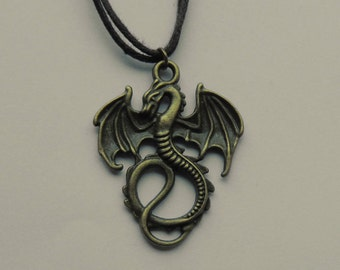 Small Dragon Pendant Necklace on Double Stranded Waxed Brown Cord