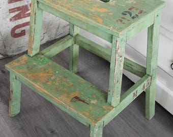 Green step ladder, stool, chair,  vintage, distressed, rustic, industrial, farmhouse, chippy, aged, hand painted numbers.