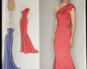 Simplicity 2253 - Jessica McClintock Evening Dress with Single Shoulder or Strappless Option - Size 4 6 8 10 12