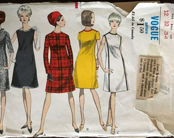 Vogue 6900 - 1960s A Line Dress in Knee Length with Short or Long Sleeves or Sleeveless - Size 12 Bust 32