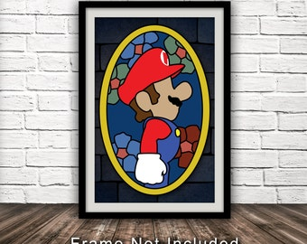 Mario Inspired Stained Glass Poster - Minimalist Fan Art