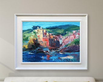 Cinque Terre Painting Riomaggiore Oil Painting Original Art Fishing Village Art Italy Painting Coastal Art Travel Art Abstract Modern Art