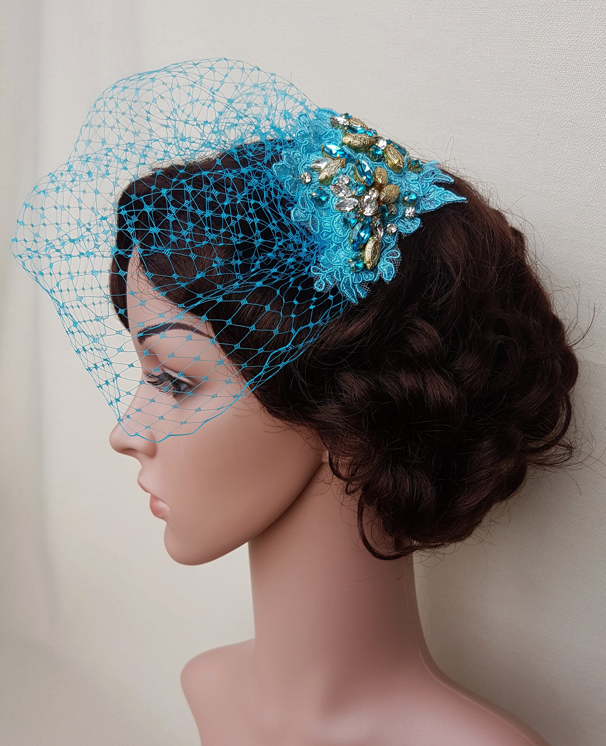 Turquoise Veil Birdcage Wedding Blue And Gold Blusher Small DANI
