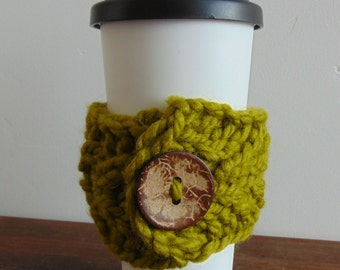 Chunky Hand Knit Mug Cozy Coffee Tea Coco Warmer Green Cable Knit Hand Made in Alaska Stocking Stuffer
