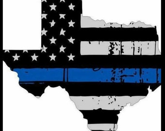 """Dallas Texas TX Thin Blue Line Police Officer Support Bumper Vinyl Sticker Decal - Buy 2, GET 1 FREE 5"""" tall"""