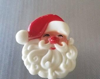 Vintage Mid Century Plastic Santa Claus Brooch Pin