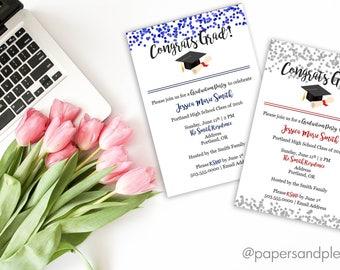 Class of 2017 Graduation Party Invitation | Confetti Invitation | Graduation Cap Invite | High School Grad | College Grad - Printable file
