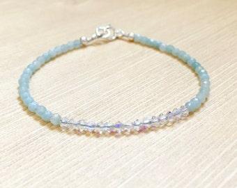 Dainty Amazonite Swarovski Crystal Minimalist Style Bracelet, Dainty Bracelets, Gifts for Her, Stacking Bracelets, Birthday Gift Ideas