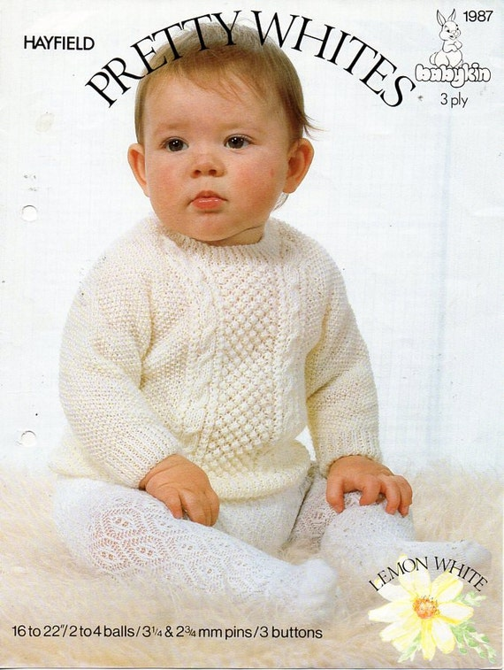 Vintage Baby Cardigan Knitting Pattern : Vintage 3ply baby sweater knitting pattern PDF cable panel